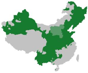 English: Extent of Mandarin (dark green) and J...