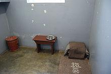Cellule de Nelson Mandela prison de Robben Island pendant 26 ans.