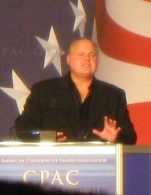 English: Rush Limbaugh at CPAC in February 2009.