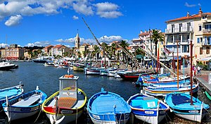 the picturesque harbour of Sanary-sur-Mer, a c...