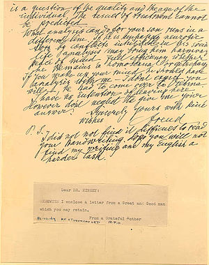 English: A Letter from Sigmund Freud to a Moth...