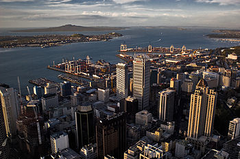 English: Auckland (New Zealand) CBD view from ...