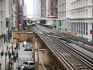 Elevated tracks in the Chicago Loop.