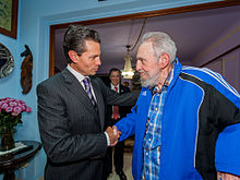 Peña Nieto with former Cuban President Fidel Castro in Havana, Cuba, January 2014