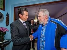 Peña Nieto with former Cuban President Fidel Castro in Havana, Cuba, January 2014