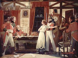 English: Laura Secord warning Lieutenant James...