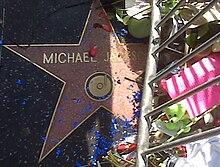 "Sebuah bintang merah muda dengan  ""menulis"" rim Michael  Jackson dan berwarna emas. bintang ini  dikelilingi oleh penghalang  logam berwarna perak dan bunga. Ada juga  confetti biru dan merah muda  mawar kuncup pedal di atas bintang."