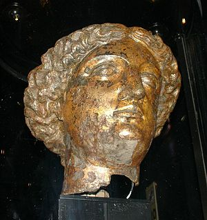 A head of Minerva found in ruins of Roman bath...