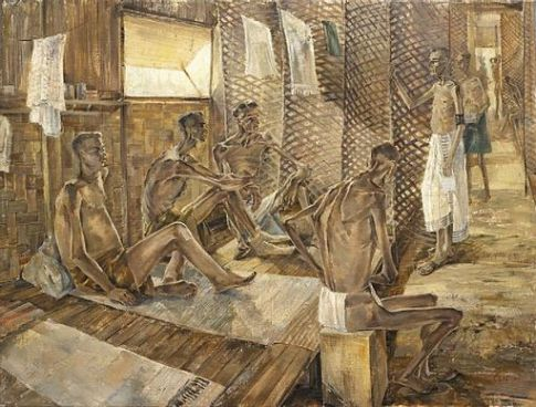 Orderly on His Rounds in X Ward, Changi Gaol, Singapore, With Pow's Suffering from Starvation and Beri-beri Art.IWMARTLD5618