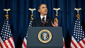 English: President Barack Obama speaks from th...