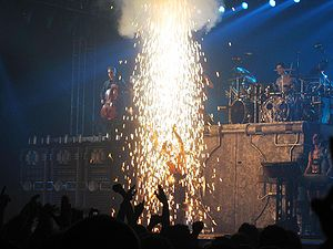 English: The band Rammstein in concert in 2005.