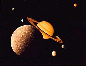 शनि के चन्द्रमाओ का कोलाज