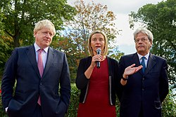 Gentiloni with Boris Johnson and Federica Mogherini in September 2016.