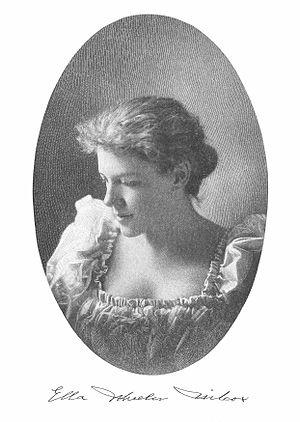 English: Portrait of Ella Wheeler Wilcox, with...