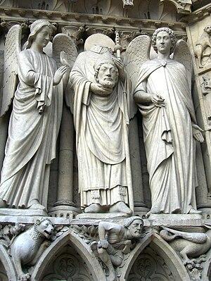 Statue of Saint Denis on the Portail de la Vie...
