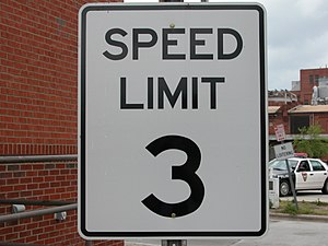English: Unusual speed limit (3 MPH), located ...