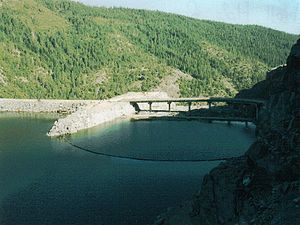 Lower Hellhole Dam, concrete, rebuilt 1966