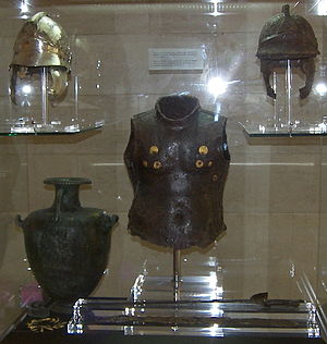 Hoplite armour exhibit at the Corfu Museum