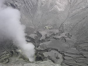 View into the Mount Bromo crater