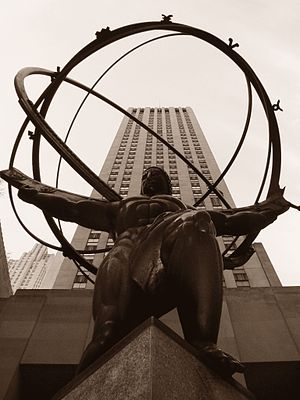 """Sepia photograph of the """"Atlas"""" stat..."""
