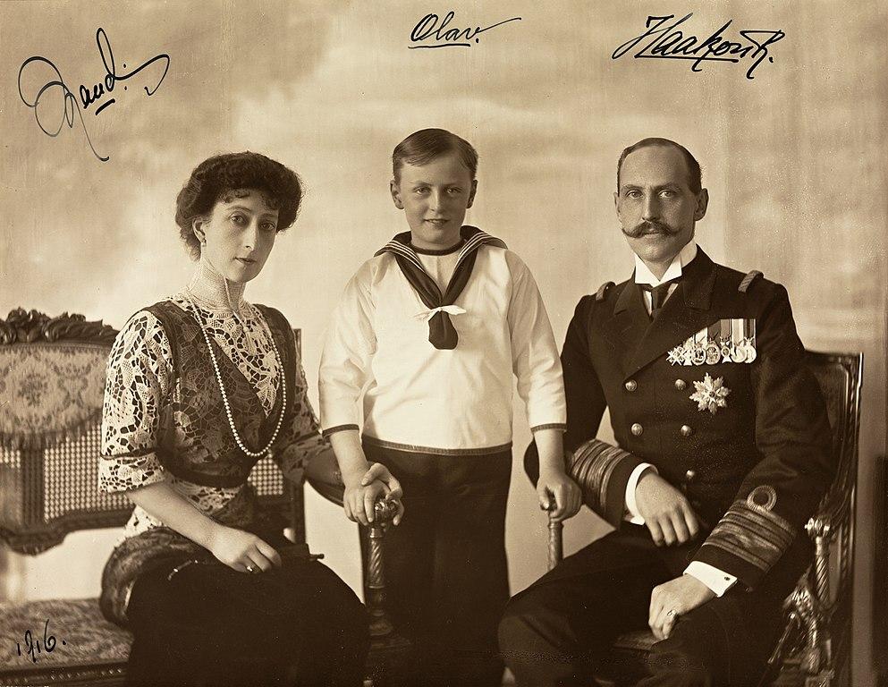 File Portrett Av Dronning Maud Kronprins Olav Og Kong