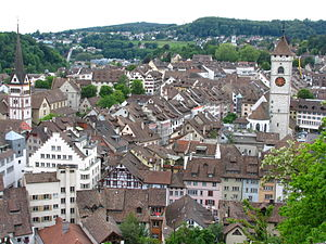 Schaffhausen (Switzerland) as seen to the west...