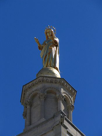 "Statue on the ""Palais des Papes"" in ..."