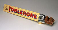 An opened Toblerone bar