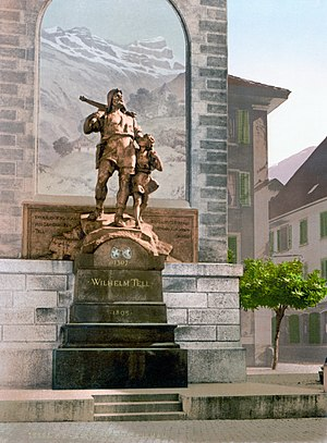 Wilhelm Tell monument in Altdorf, Switzerland,...