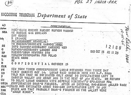 A declassified US State Department telegram that confirms the existence of hundreds of infiltrators in the Indian state of Jammu and Kashmir.