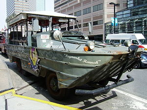 DUKW converted into a tour bus for the famous ...