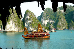 English: Halong bay, Vietnam is famous for its...