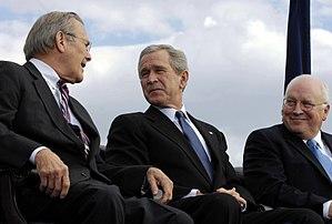 Secretary of Defense Donald Rumsfeld shares a ...