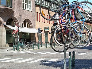 Bicycles hanging high after a practical joke d...