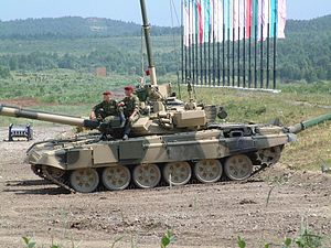 Russian Army T-90A during a training exercise.