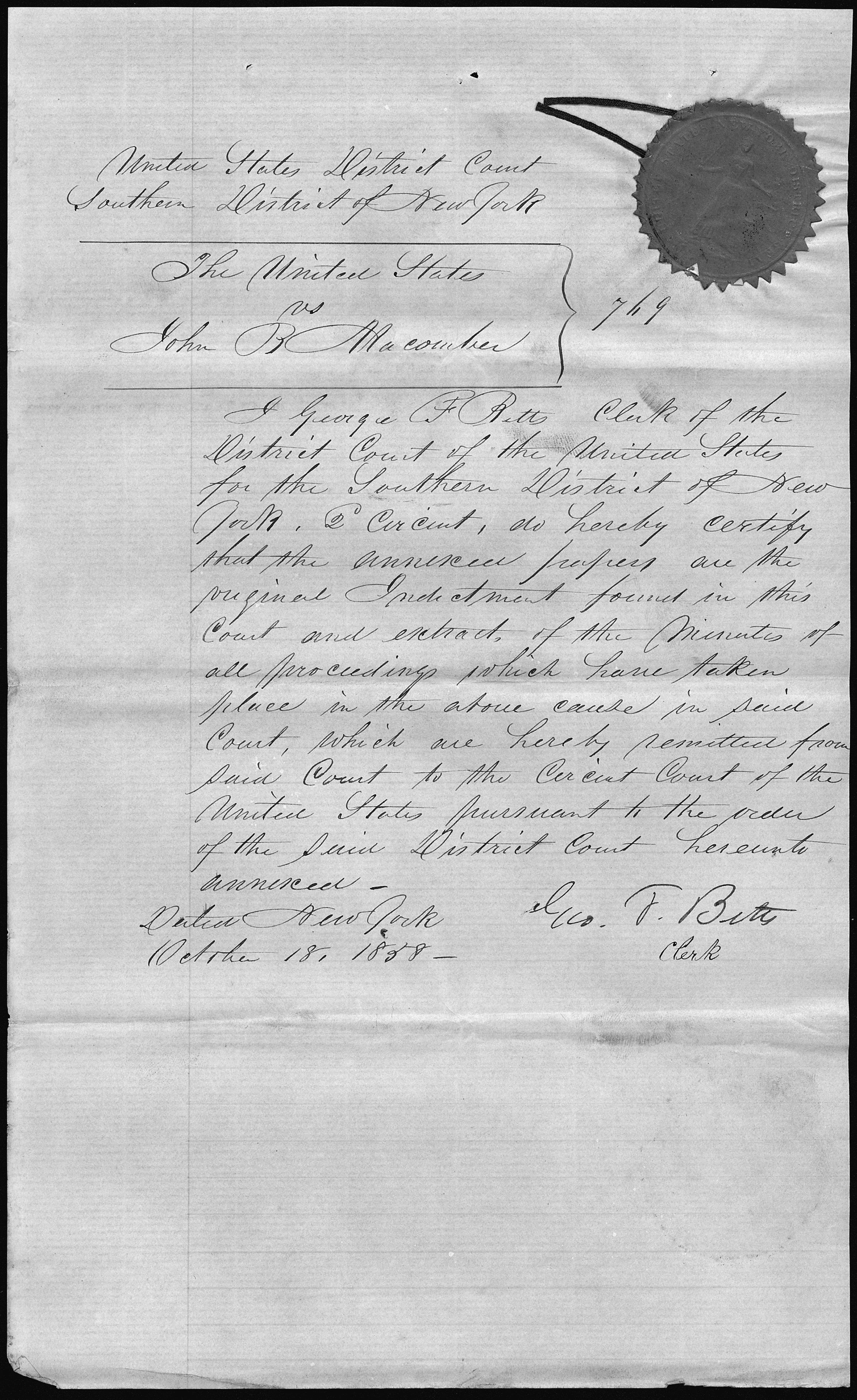 File The United States Vs John B Macomber Clerk S