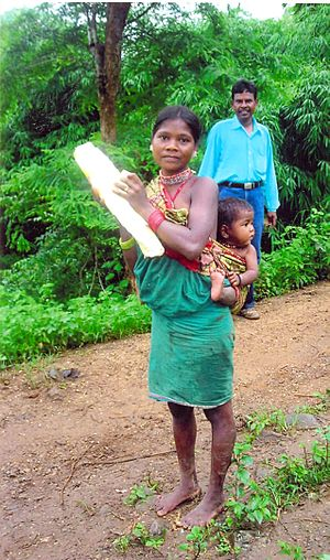 Baiga tribe family in Balaghat district Madhya...