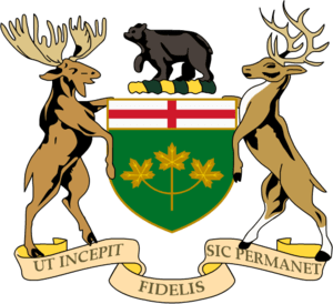 coat of arms of Ontario Crest: Upon a wreath o...