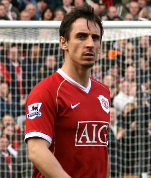 Gary Neville playing for Manchester United F.C.