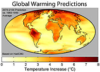 The geographic distribution of surface warming during the 21 st  century calculated by the HadCM3 climate model if a business as usual scenario is assumed for economic growth and greenhouse gas emissions. In this figure, the globally averaged warming corresponds to 3.0 °C (5.4 °F).