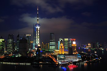 English: The skyline of Shanghai, China.