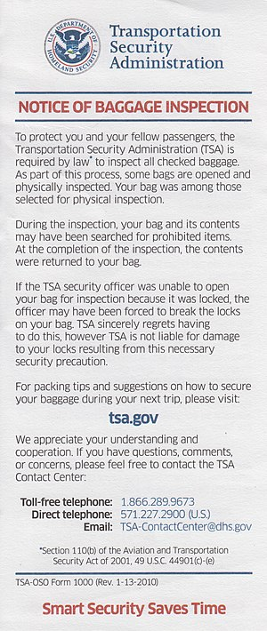 Transportation Security Administration: Notice...