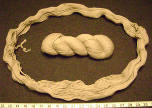Two hanks of the same wool, one coiled and the...