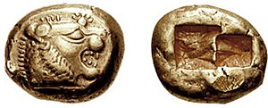 A 640 BCE one-third stater electrum coin from ...