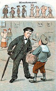 Vitsetegning fra det danske vittighetsbladet Puk fra 1894 karikerer gamle dagers forestilling om at gutter ofte ble betraktet som voksne menn etter konfirmasjonen.