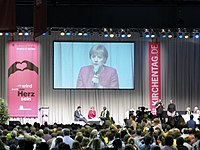 Merkel speaking at the 2011 German Evangelical Church Assembly in Dresden