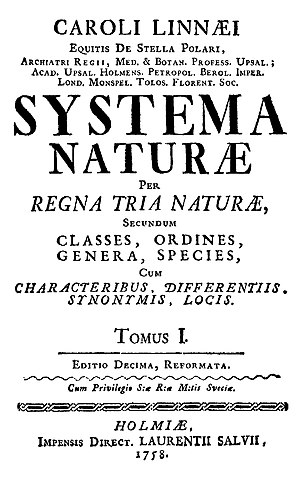 Title page of the 1758 edition of Systema Natu...