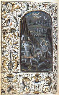 Miniatura dell'Annunciazione ai pastori, tratta dal cod. 470 della Biblioteca Trivulziana di Milano, un libro d'ore