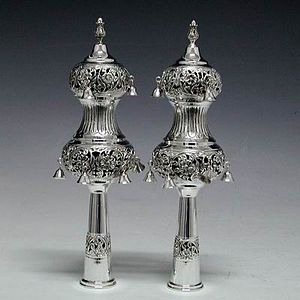 A Pair Silver Torah crowns used to decorate a ...