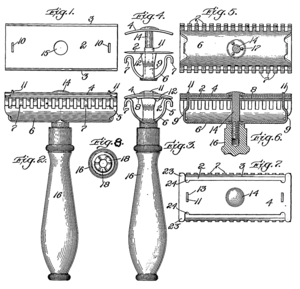 Drawing from US patent 775,134 (safety razor).